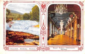 Norway Old Vintage Antique Post Card Waterfall, Royal Palace Christiania Stal...