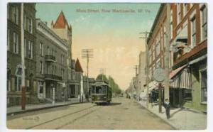 New Martinsville WV Main Street View Trolley Clock Meighen WV Cancel  Postcard