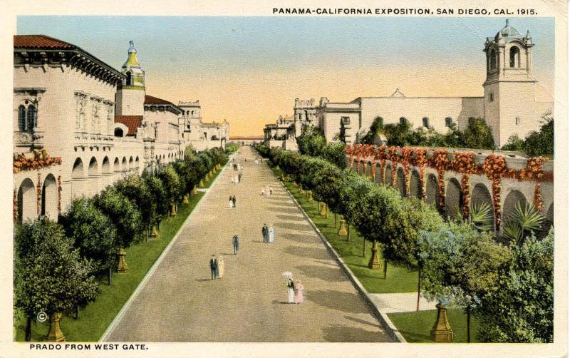 CA - San Diego. 1915 Panama-California Expo. Prado from West Gate