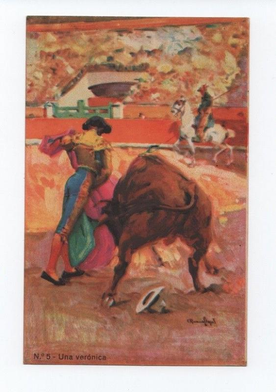 ART POSTCARD 1910ys SIGNED SPAIN BULLFIGHT BULL & HORSE cow cows bulls ox oxen