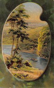 Artists Palette Portal~Cliff View~Men Paddle Boat Down River~Emboss~ECC Ser 162