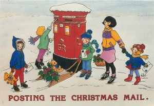 Children posting the Christmas mail 1991 by Rosalind Wicks mailbox teddy bears