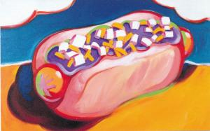 Fat Juicy Hot Dog Soft Bun Mustard Onions Coney Island Art - 1997 Potlatch Corp