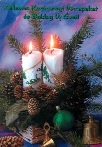 Christmas candle & pines cones ornament Santa Claus Stamp