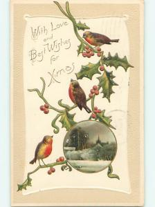 Divided-Back christmas ORANGE BREATED BROWN BIRDS ON HOLLY r4710