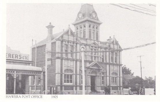 Hawera Post Office in 1905 Taranaki New Zealand Postcard