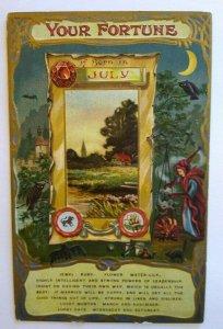 Fortune Postcard Jewel Ruby Flower Water-Lily July Julius Bien 37 Unused Witch
