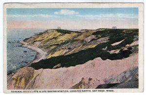 Gay Head, Mass, General View Cliffs & Life saving Station, Looking North