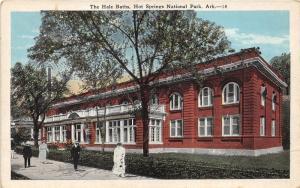 Hot Springs National Park Arkansas~Hale Baths~People on Sidewalk~1920s Postcard