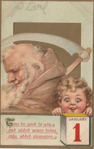 AS; Frances Brundage, 1900-10s; NEW YEAR, Father time, Baby, January 1