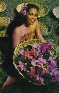 Beautiful Girl With Hawaiian Orchids