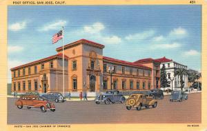 Post Office, San Jose, California, Early Linen Postcard, unused