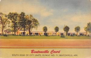 Bentonville Arkansas~Bentonville Court~Roadside US 71 Motel~c1950 Linen Postcard