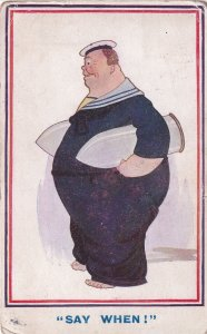 Military Weapons Fat Sailor Missiles WW1 Old Comic Postcard