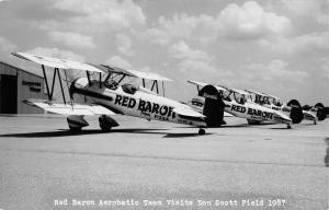 Worthington OH~Don Scott Field~Airport~Red Baron Aerobatic Team Planes~1987 RPPC
