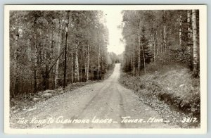 Tower Minnesota~Leafy Road to Glenmore Lodge~Birch Trees Both Sides~1940s RPPC