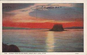 Utah Great Salt Lake Sunset Over Black Rock 1937