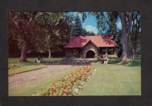 NH Entrance Greeley Park Pk Nashua New Hampshire Postcard Flowers