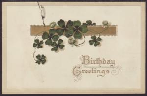 Birthday Greetings,Clover Postcard