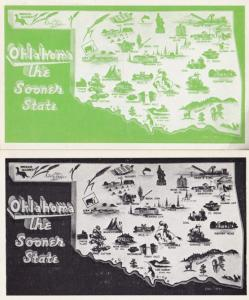 Oklahoma The Sooner State 2x Georgraphy American USA Rare Postcard s