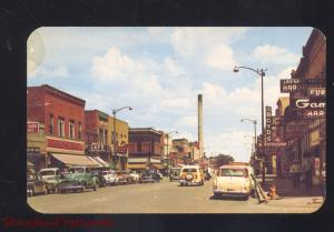 LARAMIE WYOMING DOWNTOWN SECOND STREET OLD CARS WOODY WAGON POSTCARD