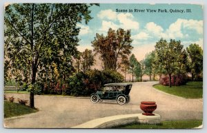 Quincy Illinois~Vintage Car Takes a Drive in River View Park~Urn on Wall~c1910