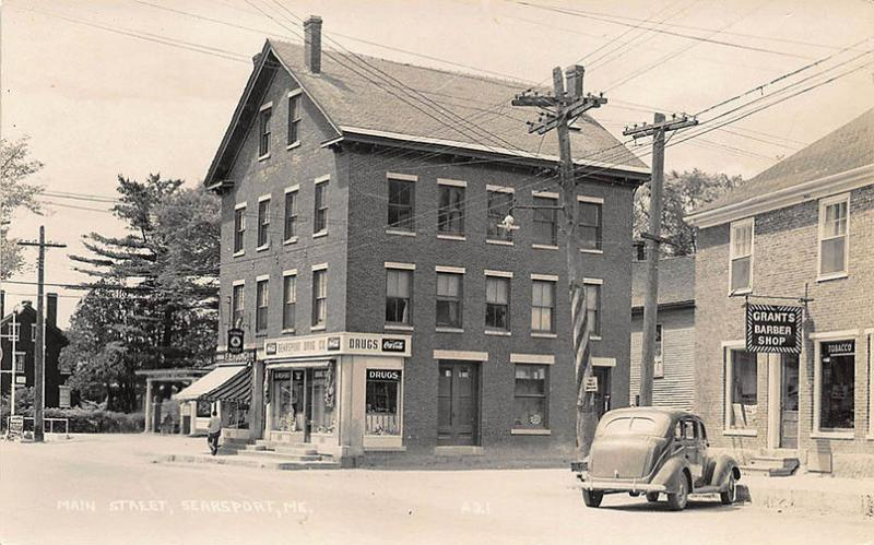 Gas Station By Me >> Searsport Me Gas Station Drug Store Barber Shop In 1950 Rppc