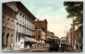 Oneida New York~Main Street~Moving Pictures Illustrated Songs~Bank~Trolley~1909