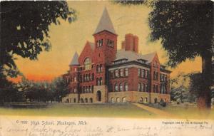 Muskegon Michigan~High School Building~Colored Sky~1905 Rotograph Co Postcard