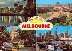 Australia Greetings from Melbourne Victoria Skyline Collins Street Tram