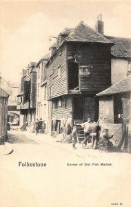 Folkestone Corner of Old Fish Market Street Postcard
