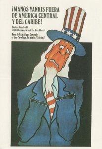 Yankee Hands Off America Tall Hat Politics Comic Postcard