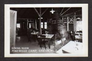 ME Dining Room Pinewood Camp Canton Maine Real Photo Postcard RPPC RP PC