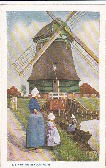 Netherlands Volendam De watermolen Windmill Mother and Daughter In Local Costume