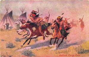 Native Americans Indian Pony Race Signed John Innes Postcard