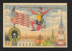 VICTORIAN TRADE CARD Merrick Thread Tightrope Walker & Flag