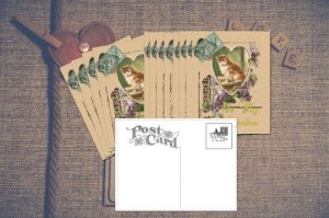 Hand-designed Postcard Set, Kitten in Heart with Lavender Purple Violets