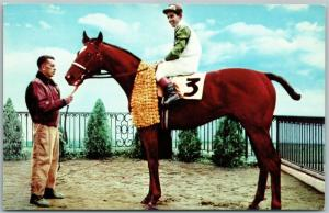 DELAWARE TOWNSHIP NJ GARDEN STATE PARK HORSE RACE VINTAGE POSTCARD