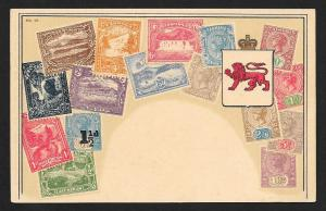 TASMANIA Stamps on Postcard w/Coat of Arms Unused c1900-1930