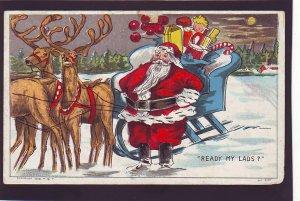 P1556 old used postcard santa sled presents Reindeer ready my lads
