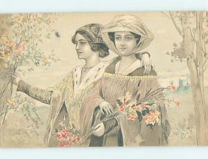 Pre-1907 foreign FRENCH GIRLS PICKING WILDFLOWERS IN FOREST HL7241