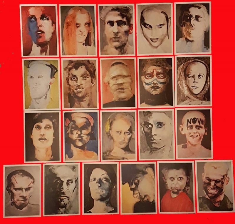 21 NEW Postcards Abstract Faces Xenoi Friends & Strangers By Caterina Albert FM