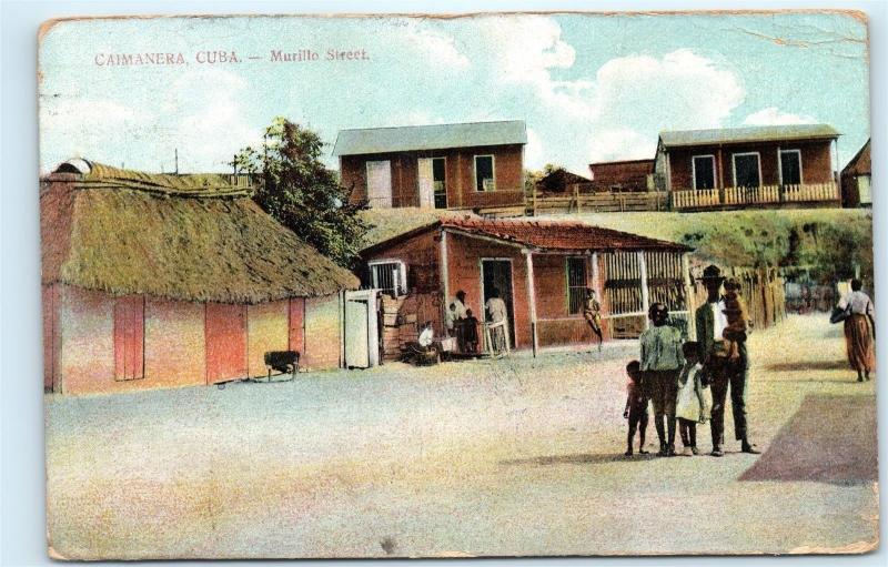 *1910 Caimanera Cuba Murillo Street Family Old Vintage Postcard A66