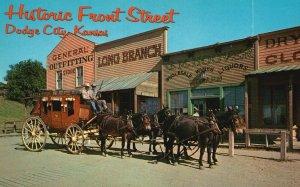 Dodge City, Boot Hill, KS, Historic Front Street, Chrome Vintage Postcard g8293