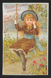VICTORIAN TRADE CARD Boschees German Syrup Pretty Girl on Rope Swing c1883