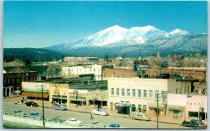 Flagstaff, Arizona Postcard Bird's-Eye View Downtown Street Scene Route 66 1950s