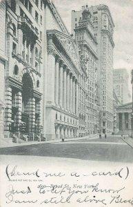 Broad Street, Manhattan, New York City, N.Y., Early Postcard, Used in 1905