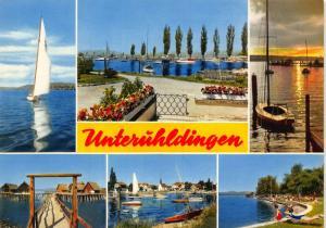 Unteruhldingen multiviews Lake Harbour Boats Sunset Postcard