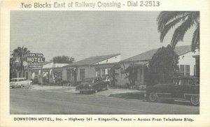 Autos Kingsville Texas National Downtown Motel Roadside 1950s Postcard 20-6343