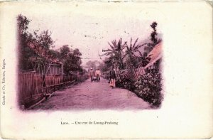 PC CPA LAOS, INDOCHINA, UNE RUE DE LUANG PARABANG, Vintage Postcard (b20881)